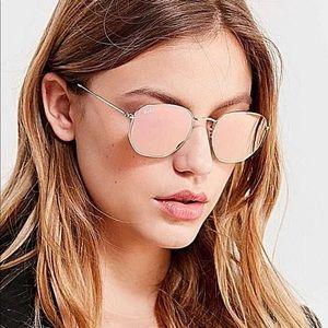 Ray-Ban Blaze Hexagonal Gold Pink Mirror Lens